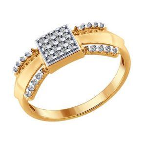 Кольцо из золочёного серебра с фианитами 93010620 SOKOLOV