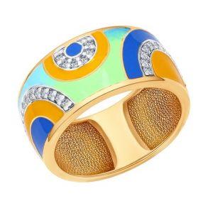 Кольцо из золочёного серебра с эмалью с фианитами 93010562 SOKOLOV