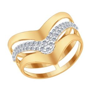 Кольцо из золочёного серебра с фианитами 93010568 SOKOLOV