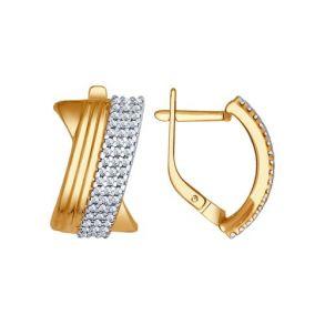 Серьги из золочёного серебра с фианитами 93020707 SOKOLOV