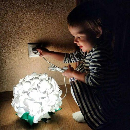 Светильник-ночник белоснежная гортензия