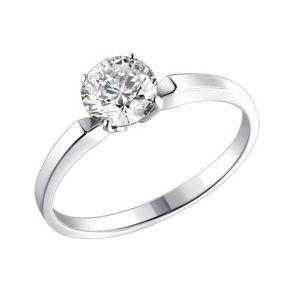 Серебряное помолвочное кольцо с фианитом 94010279 SOKOLOV