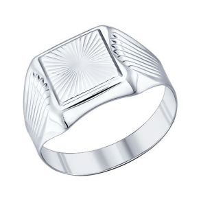 Печатка из серебра с алмазной гранью 94011231 SOKOLOV