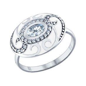 Кольцо из серебра с эмалью с фианитами 94011333 SOKOLOV