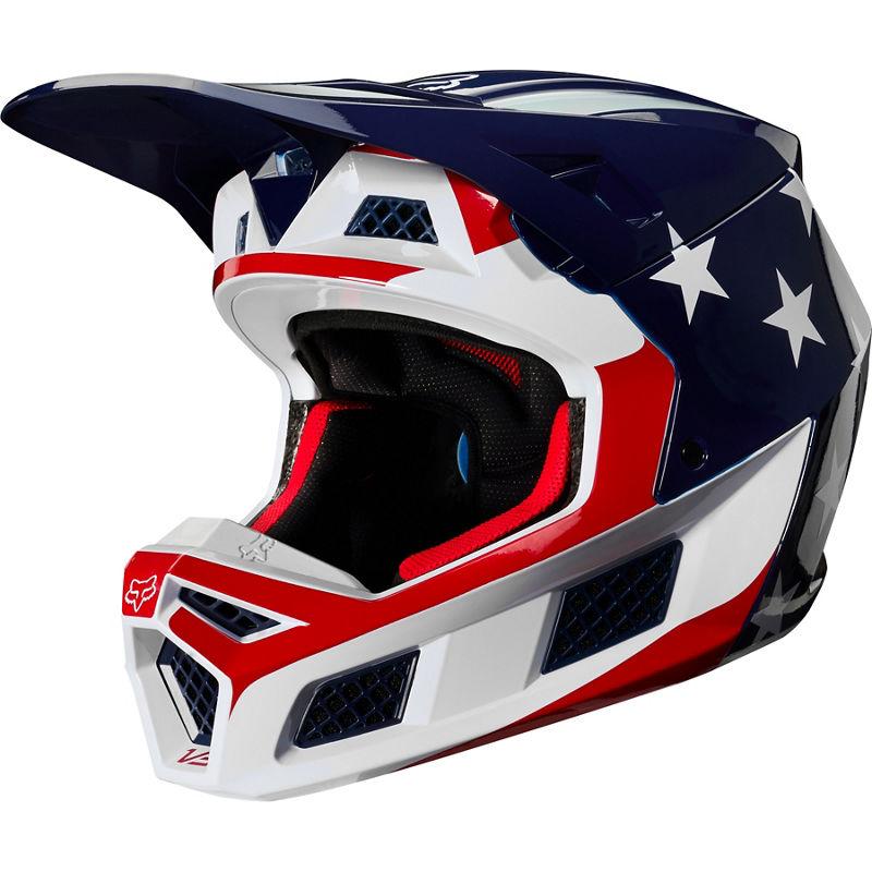 Fox - 2020 V3 Prey White/Red/Blue шлем, бело-сине-красный