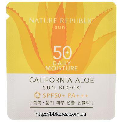 Крем для лица солнцезащитый пробник Nature Republic   (Sample)California Aloe Daily Sun Block Spf50+Pa++++