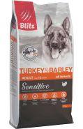 Blitz Adult сухой корм для взрослых собак всех пород с индейкой и ячменем 15 кг