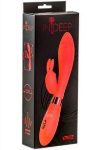 Вибратор со стимуляцией клитора Indeep Yonce красный, 10*3,3 см