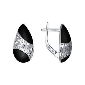 Серьги из серебра с эмалью с фианитами 94021231 SOKOLOV