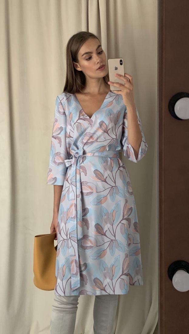 m2846 Платье из вискозы серо-голубое