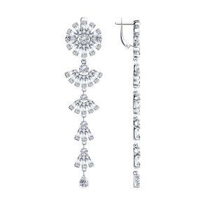 Серьги из серебра с фианитами 94023713 SOKOLOV