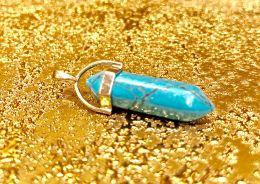 Биолокационный маятник натур камень Бирюза в металле 3см