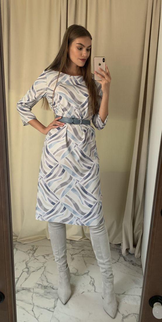 s1509 Платье прямого силуэта серо-голубое