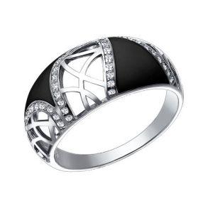 Кольцо из серебра с эмалью с фианитами 94011035 SOKOLOV