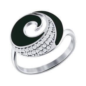 Кольцо из серебра с эмалью с фианитами 94010406 SOKOLOV
