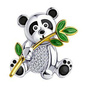 """Брошь """"ПАНДА"""" из золочёного серебра с эмалью и фианитами 94040176 SOKOLOV"""