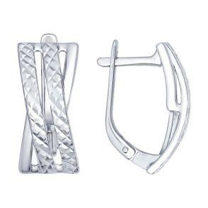 Серьги из серебра с алмазной гранью 94022286 SOKOLOV