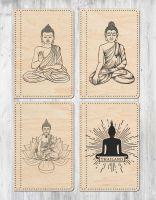 Блокнот с деревянной обложкой Будда
