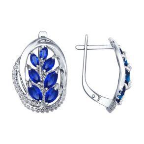 Серьги из серебра с бесцветными и синими фианитами 94022396 SOKOLOV
