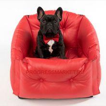 Автокресло для собак мелких пород (красное)