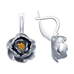 Серьги из серебра с золочением 94022699 SOKOLOV