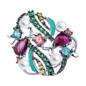 Кольцо из серебра с эмалью и жемчугом и фианитами 94013017 SOKOLOV