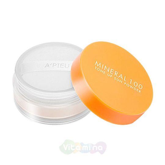 A'Pieu Солнцезащитная рассыпчатая пудра Mineral 100 Tone Up Sun Powder SPF50+ PA++, 6 г