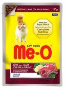 Me-O Влажный корм для кошек  говядина ягненок в соусе, 80г