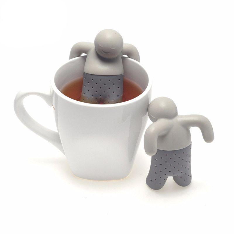 Ситечко для заваривания чая, Человечек, силиконовое, цвет серый