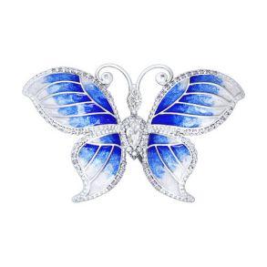 Брошь «Бабочка», украшенная эмалью и фианитами 94040052 SOKOLOV