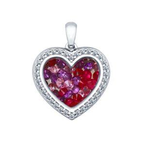 Серебряная подвеска «Сердце» с фианитами 94031962 SOKOLOV