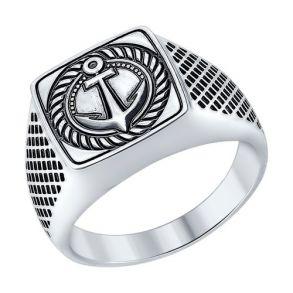 Печатка «Якорь» из серебра 95010085 SOKOLOV