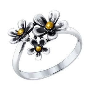 Кольцо из чернёного серебра 95010088 SOKOLOV