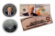 25 рублей +100 ДОЛЛАРОВ - ДОНАЛЬД ТРАМП - НАБОР МОНЕТА+БАНКНОТА