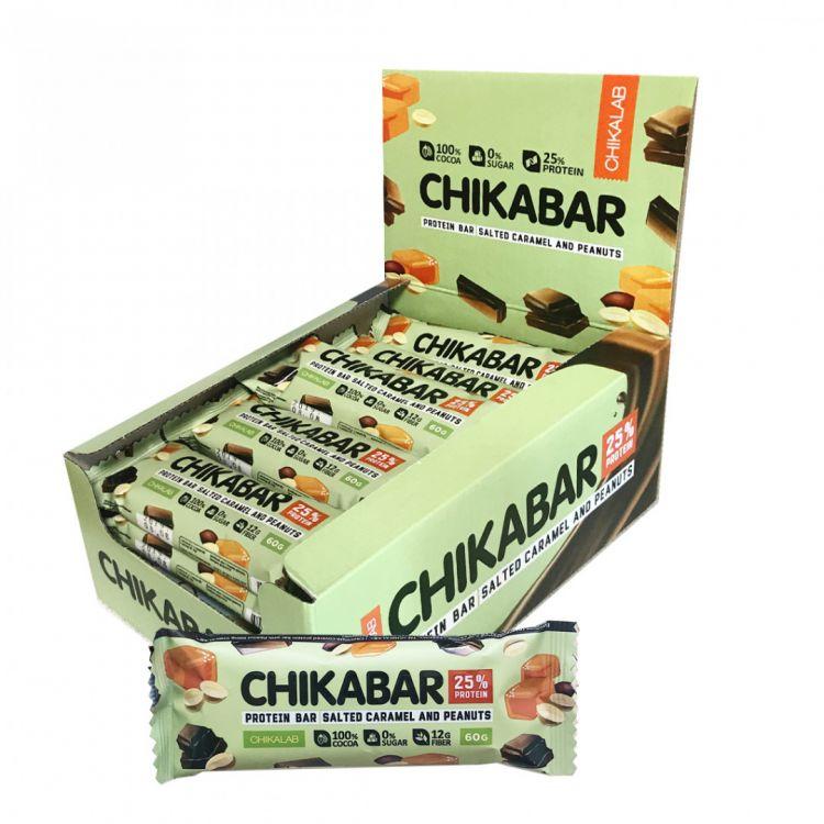 Протеиновый батончик в шоколаде Chikalab АРАХИС С КАРАМЕЛЬНОЙ НАЧИНКОЙ 60 гр