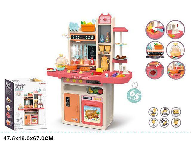 889-162 Детская игровая интерактивная кухня с водой, с паром, 65 аксессуаров, высота 94 см