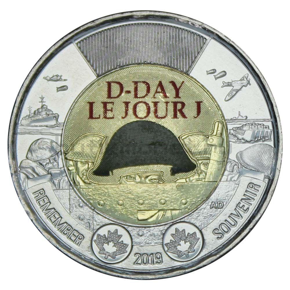 2 доллара 2019 Канада 75 лет высадке союзников в Нормандии Цветная