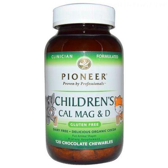 Pioneer Nutritional Formulas, Кальций, магний и витамин D для детей, с шоколадным вкусом, 120 табл.