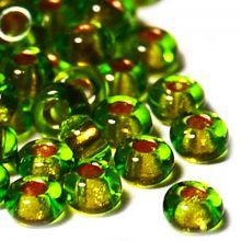 Бисер чешский 59430 зеленый прозрачный золотая линия внутри Preciosa 1 сорт