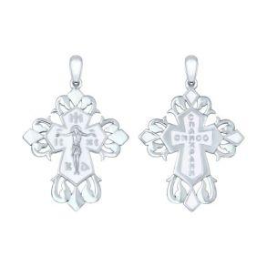 Крест из серебра с эмалью 94120133 SOKOLOV