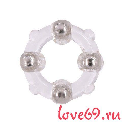 Эрекционное кольцо с 4 бусинами MENZSTUFF STUD RING CLEAR