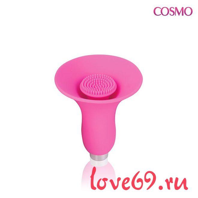 Розовый силиконовый вибромассажер-бутон