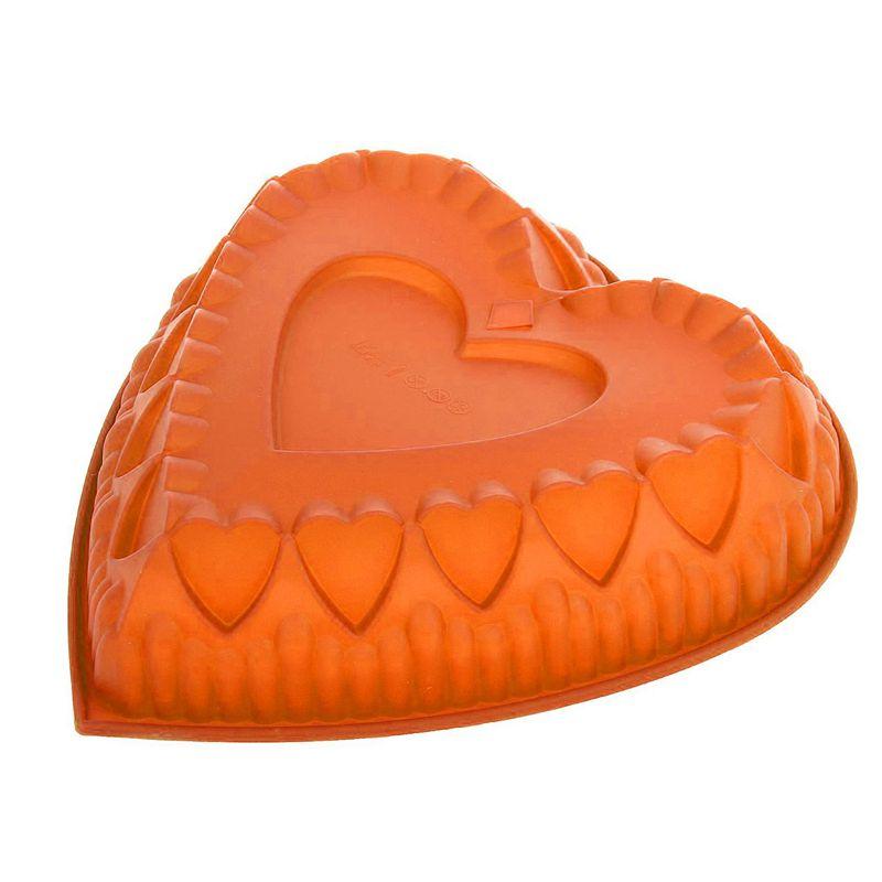 """Силиконовая форма для выпечки """"Сердце"""", Цвет Оранжевый"""