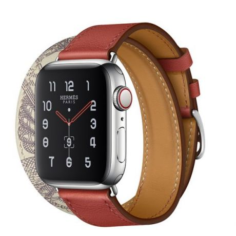 Apple Watch Hermes Series 5 Stainless Steel 40mm GPS + Cellular Brique/Béton with Leather Double Tour