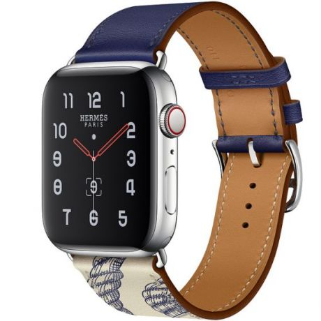 Apple Watch Hermes Series 5 Stainless Steel 44mm GPS + Cellular Encre/Béton with Leather Single Tour