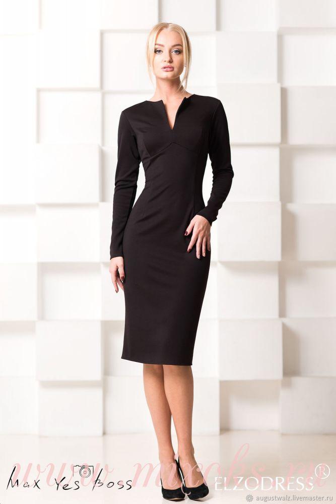 Платье футляр черное с длинным рукавом