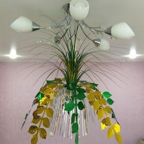 Подвесной фольгированный фонтан-каскад Листья, 55 см