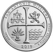 49 ПАРК США - 25 центов 2019 год, Техас национальный исторический парк Миссии Сан-Антонио