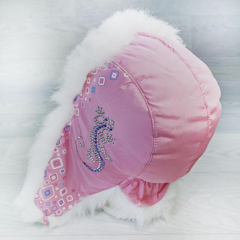 язд1148-4703 Шапка-ушанка из плащевки Ящерица розовый/белый р-р 52
