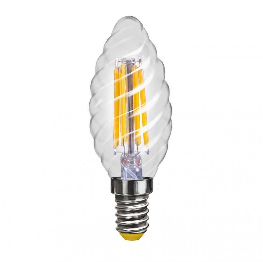 Лампа светодиодная филаментная Voltega E14 4W 4000К свеча витая прозрачная VG10-CС1E14cold4W-F 7003